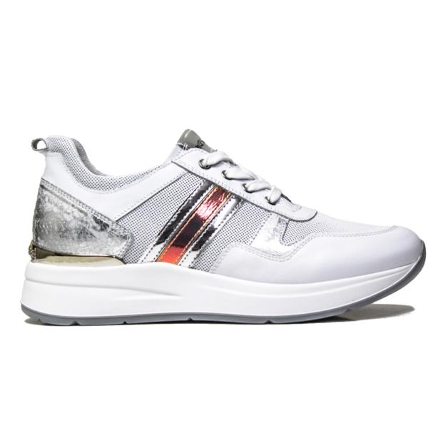 nero-giardini-sneaker-donna-in-pelle-bianca-con-strisce-laterali-argento-articolo-p907721d-707-ara